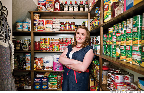 Extreme couponing: College student Lauren Liggett -- a coupon newbie -- has filled up her parents' house with staples, such as this stash of tomato sauce.