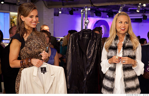 Stylist Rachel Zoe with QVC home-shopping program host Lisa Robertson, during a Fashion Week broadcast.