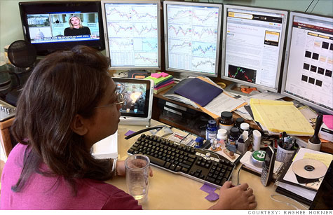 Raghee Horner at her at-home trading station. Horner began trading currencies in 1999, and now it's her primary market for trading.