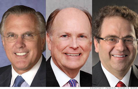 Regional Fed presidents, Richard Fisher of Dallas, Charles Plosser of Philadelphia, and Narayana Kocherlakota of Minneapolis