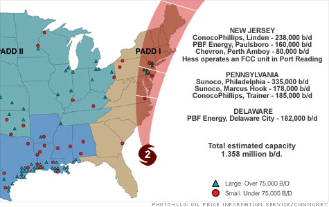 Analysts say up to 10% of the nation's refining capacity could be offline in the coming days thanks to Hurricane Irene.