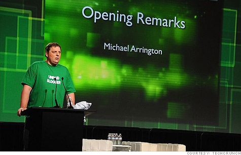 TechCrunch founder Michael Arrington opened this year's Disrupt conference with an announcement that he is leaving AOL -- and a snarky t-shirt throwing a jab at his ex-corporate master.
