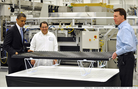 Republican's use the failure of solar panel maker Solyndra to suggest government support for green projects should end.
