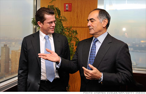 John Mack, right, shown here during a 2009 meeting in New York with German Economy Minister Karl-Theodor zu Guttenberg, is stepping down as the chairman of Morgan Stanley.