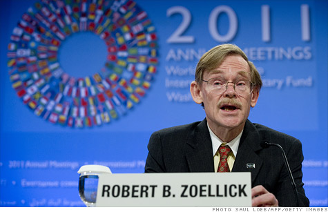 World Bank president Robert Zoellick speaks during a press conference at the International Monetary Funds as officials gather in Washington D.C.