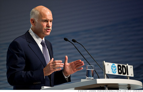 Greek Prime Minister George Papandreou addressed a meeting of the Federation of German Industry in Berlin on Tuesday regarding Greece's economy.