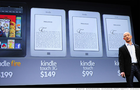Amazon CEO Jeff Bezos shows off the new crop of Kindles.