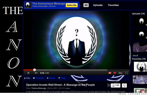A YouTube video called for an Anonymous attack on NYSE.com on October 10.