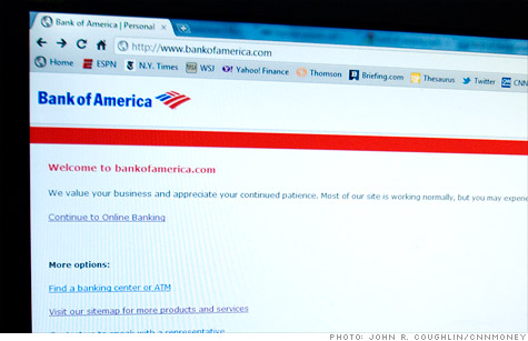 Bank of America continued to display a message on its homepage Wednesday warning users that its site is having  delays.