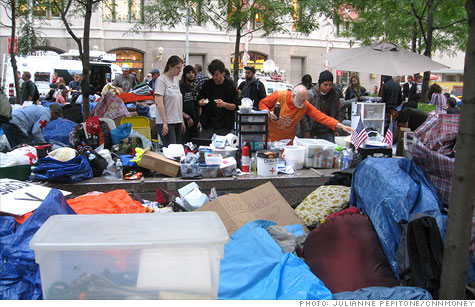 Occupy Wall Street protesters have set up an urban campground.