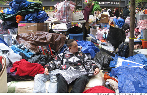 A scene from Day 19 of the continuing Occupy Wall Street protest.
