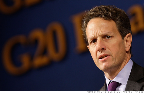 U.S. Treasury Secretary Tim Geithner and the rest of the G20 finance ministers pledged support for a European bank rescue plan.