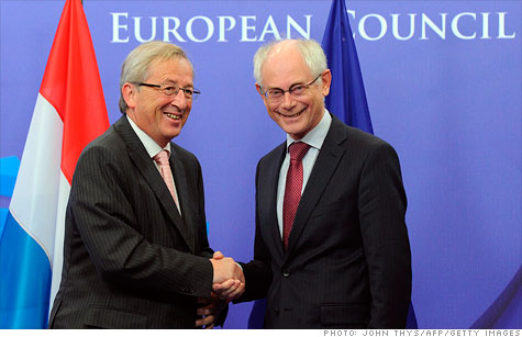 Eurogroup president Jean-Claude Junker and Herman Van Rompuy, head of the European Council, are among officials taking part in a flurry of meetings this weekend to finalize a broad plan to stabilize the euro.