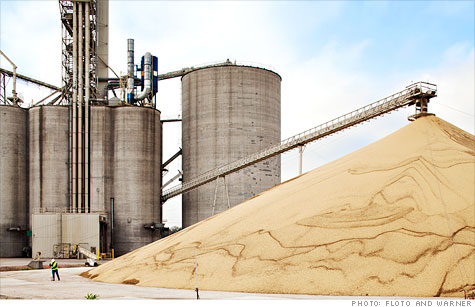 Just-harvested soybeans are stacked high at a Cargill grain elevator in Albion, Neb.