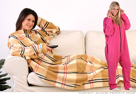Ridicule of the Snuggie [left] stopped after millions were sold. Now other products, like the Forever Lazy [right] an adult fleece onesie, are vying for that same success.
