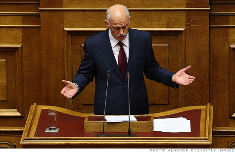 Greek Prime Minister George Papandreou survived a confidence vote and called for a coalition government.