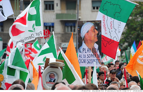 Thousands took to the streets in Rome to protest Prime Minister Silvio Berlusconi's reforms.