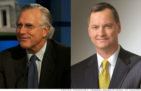 Regional Federal Reserve Presidents Richard Fisher of Dallas (left) and Charles Evans of Chicago (right) disagree on how the central bank should help the economy.