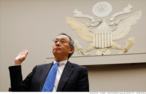 Energy Secretary Steven Chu at a House hearing Thursday on the Solyndra bankruptcy.