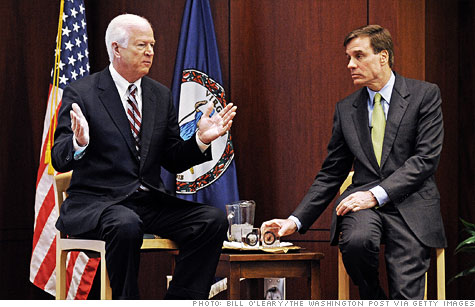 Leading by example: Republican Senator Saxby Chambliss and Democrat Mark Warner came together for public meetings on national debt in each of their home states.