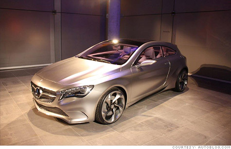 The Mercedes-Benz A-class concept, unveiled at the New York Auto Show last April, provides some idea what Mercedes new small car will look like.