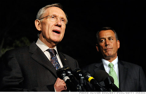 The fight over the payroll tax cut and other measures will likely come down to a deal between Senate Democrats, led by Harry Reid (l), and House Republicans, led by John Boehner (r).