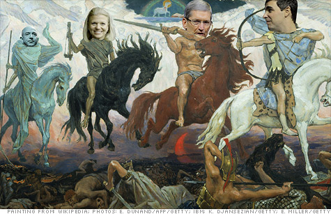 The four horsemen of tech from left to right: Amazon CEO Jeff Bezos, IBM CEO Ginni Rometty, Apple CEO Tim Cook and Google CEO Larry Page.