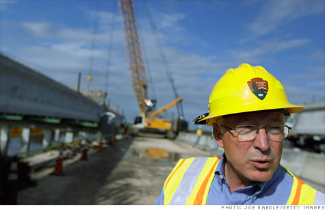 Interior secretary Ken Salazar visits the Tamiami Trail Bridge Project that is being built to restore fresh water flows to Everglades National Park and the south Florida ecosystem.