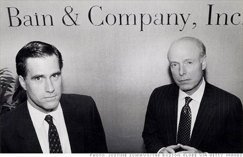 Mitt Romney and William Bain Jr. at Bain's offices in 1990.