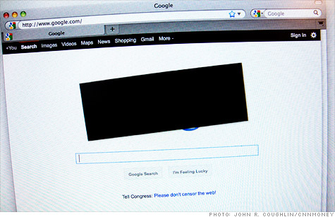 Websites blackout in protest of Stop Online Piracy Act (SOPA).
