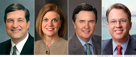 The new voting members of the FOMC: Federal Reserve presidents Jeffrey Lacker of Richmond, Sandra Pianalto of Cleveland, Dennis Lockhart of Atlanta,and John Williams of San Francisco.
