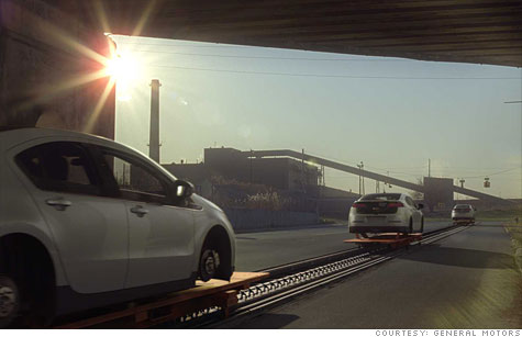 General Motors' Chevrolet Volt TV ad shows the Volt production line stretching from the factory out into suburban American roads.