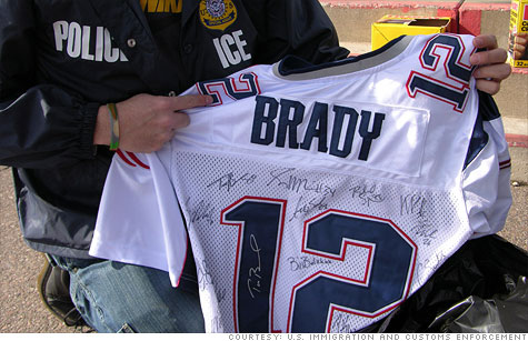 Counterfeit jerseys, like this one seized before Super Bowl XLII in Glendale, Ariz., usually sell for up to $80. But phony player signatures often raise the value substantially.