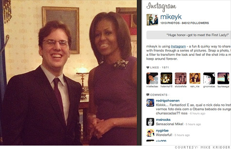 Instagram co-founder Mike Krieger shared a photo of him and irst Lady Michelle Obama. Krieger was her guest at The State of The Union.