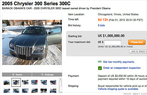 The current owners of a Chrysler 300C once leased  by President Barack Obama -- then Senator Obama -- is asking $1 million for the car.