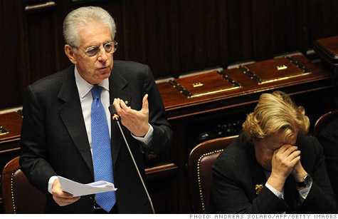 Italian Prime Minister Mario Monti. Italy was one of five eurozone countries to have its debt downgraded by Fitch on Friday.
