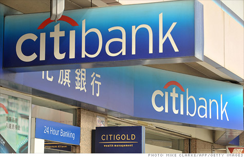 A Hong Kong office of Citibank, which won approval to issue its own credit card in China.