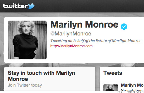 Authentic Brands Group, the owners of Marilyn Monroe's estates, hope the actress' verified Twitter feed will fuel more interest in the actress' brand.