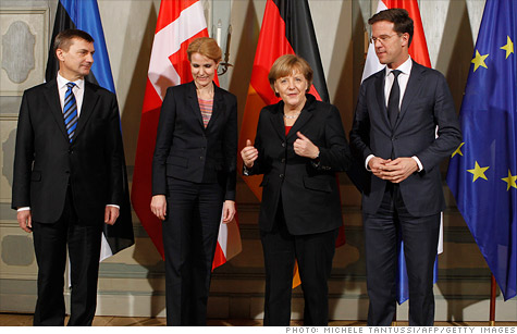 The leaders of Estonia, Denmark, Germany and the Netherlands met this week in Berlin for an informal meeting on the eurozone debt crisis. Official data released Wednesday showed the region?s economy took a step towards recession.