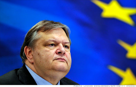 Greece's Finance Minister Evangelos Venizelos at a press conference following a meeting of euro area finance ministers on the nation's 130 billion euro bailout.