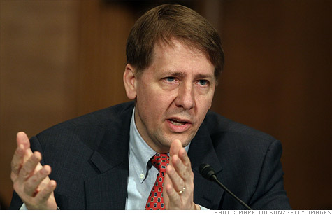 Consumer bureau chief Richard Cordray announced the bureau will look at bank overdraft protection fees. - richard-cordray.gi.top