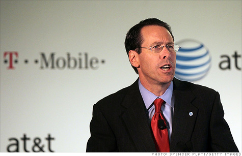 AT&T CEO Randall Stephenson's paycheck is $2 million lighter because of his failed T-Mobile takeover bid.