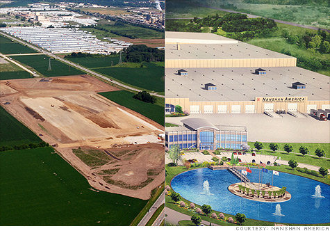Nanshan America, a Chinese aluminum components maker, was courted heavily by Indiana to open an American plant in Lafayette. Above (right) is what the $98.5 million facility will look like once it is completed.