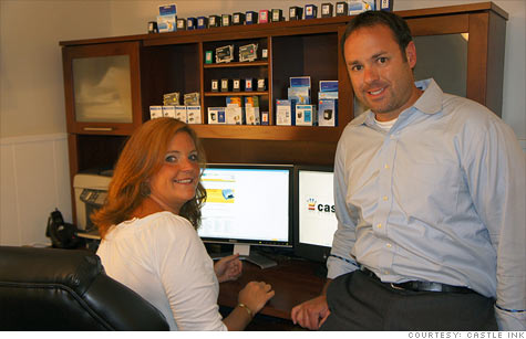 It pays to be green: Lauren Elward and her husband, Bill, made $1 million in revenue recently by selling recycled ink cartridges.
