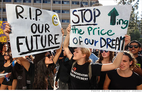 Students protesting the rising cost of higher education. Interest rates on subsidized loans are set to double.