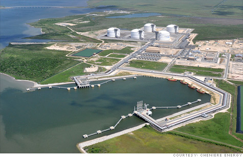 Cheniere Energy wants to build the first natural gas export facility in the lower 48 states next to its existing import facility seen here at Sabine Pass, La. The company says it will create tens of thousand of jobs, but all critics see is more fracking.