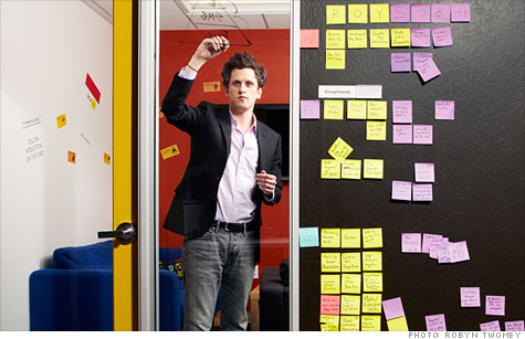 Box's chief executive Aaron Levie in his office in Palo Alto, Calif.