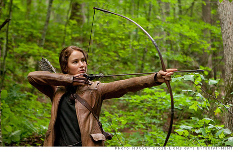 Shares of publisher Scholastic Corp spiked on Thursday, fueled by strong sales of its Hunger Games series ahead of the film version's release next week.