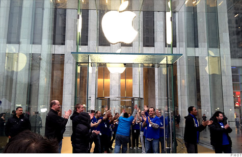 Hundreds went to the flagship Apple Store on Manhattan's Fifth Avenue to get a new iPad. The line spanned more than a city block.