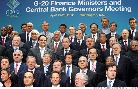 Members of the G-20 finance ministers and central bank governors at the World Bank and IMF spring meetings.